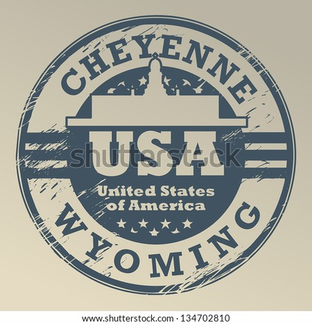 Grunge rubber stamp with name of Wyoming, Cheyenne, vector illustration