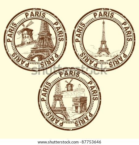 grunge rubber stamp with Paris - vector illustration