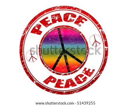 Grunge rubber stamp with peace sign and the word peace written inside  - check for more