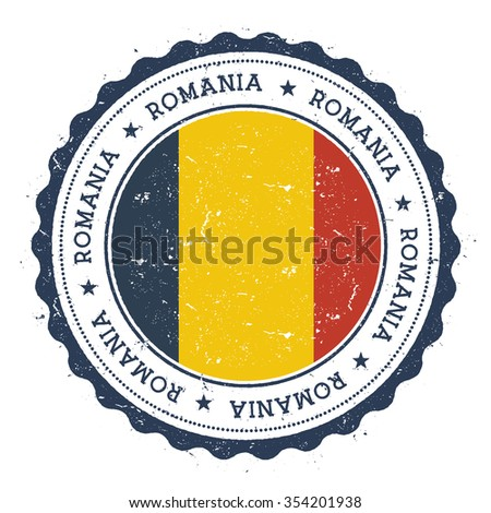 Grunge rubber stamp with Romania flag. Vintage travel stamp with circular text, stars and country flag inside it, vector illustration