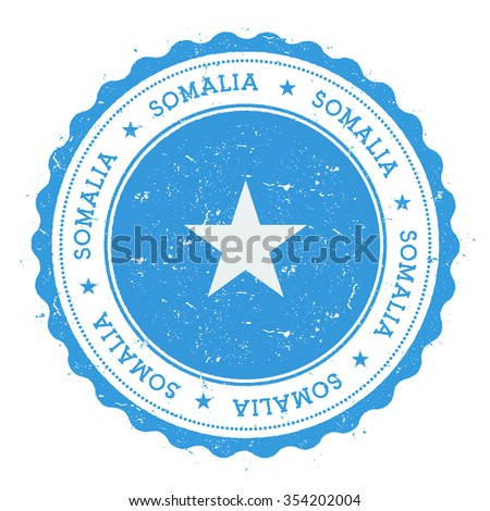 Grunge rubber stamp with Somalia flag. Vintage travel stamp with circular text, stars and country flag inside it, vector illustration - stock vector