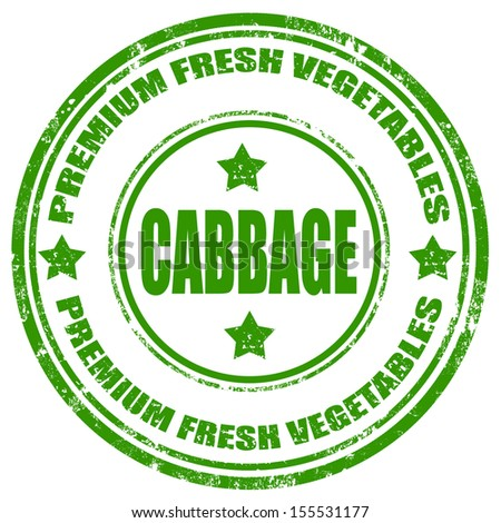 Grunge rubber stamp with text Cabbage-Premium Fresh Vegetables,vector illustration