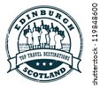 Grunge rubber stamp with text Edinburgh, Scotland, vector illustration - stock photo