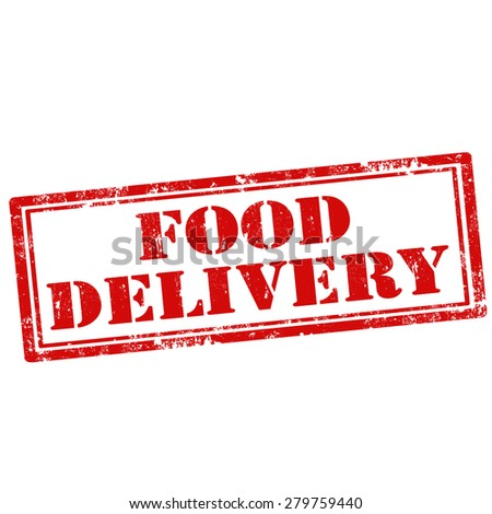 Grunge rubber stamp with text Food Delivery,vector illustration - stock vector
