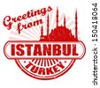 Grunge rubber stamp with text Greetings from  Istanbul, vector illustration - stock vector