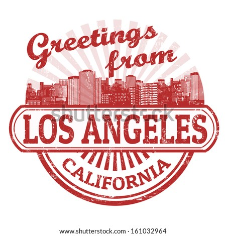 Grunge rubber stamp with text Greetings from Los Angeles, vector illustration - stock vector