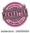 Grunge rubber stamp with text Greetings from Manhattan, New York City, vector illustration - stock vector
