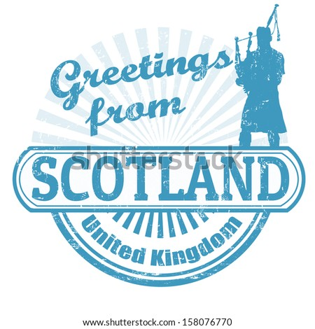 Grunge rubber stamp with text Greetings from Scotland, vector illustration - stock vector