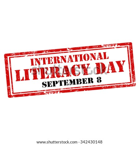 Grunge rubber stamp with text International Literacy Day,vector illustration - stock vector