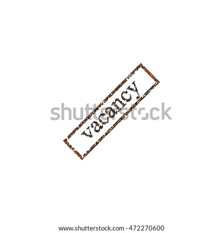 Grunge rubber stamp with text vacancy icon.