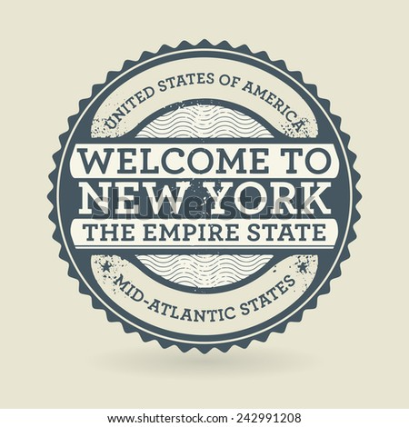Grunge rubber stamp with text Welcome to New York, USA, vector illustration - stock vector