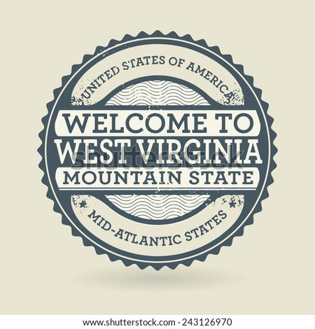 Grunge rubber stamp with text Welcome to West Virginia, USA, vector illustration - stock vector