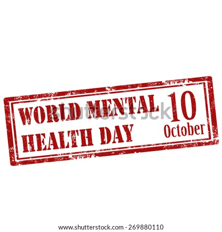 Grunge rubber stamp with text World Mental Health Day,vector illustration - stock vector