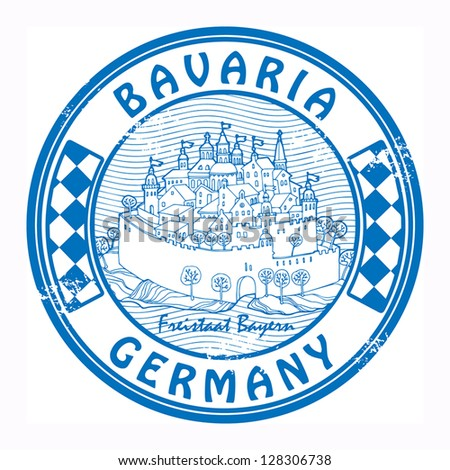 Grunge rubber stamp with the castle and words Bavaria, Germany, vector illustration