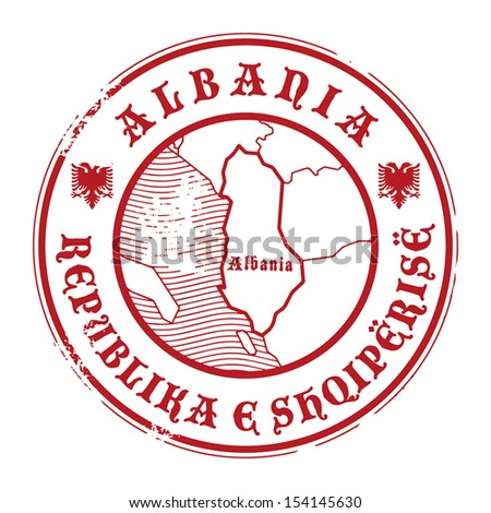 Grunge rubber stamp with the name and map of Albania, vector illustration - stock vector