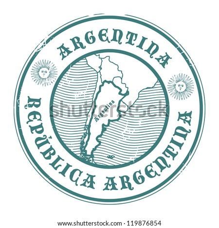 Grunge rubber stamp with the name and map of Argentina, vector illustration