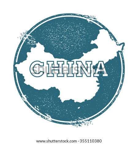 Grunge rubber stamp with the name and map of China, vector illustration. Can be used as insignia, logotype, label or badge vector design element. - stock vector