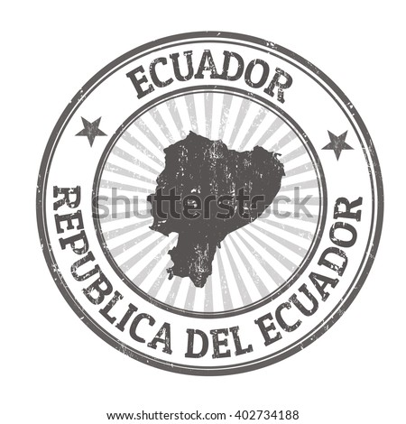 Grunge rubber stamp with the name and map of Ecuador, vector illustration - stock vector
