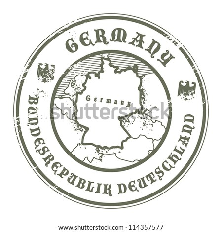 Grunge rubber stamp with the name and map of Germany, vector illustration