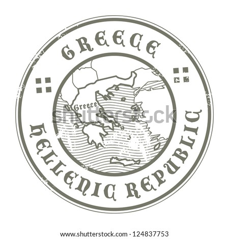 Grunge rubber stamp with the name and map of Greece, vector illustration