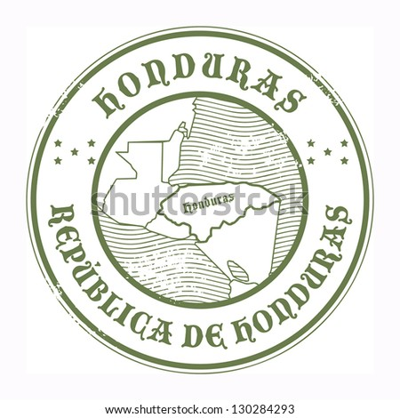 Grunge rubber stamp with the name and map of Honduras, vector illustration