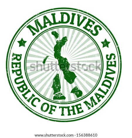 Grunge rubber stamp with the name and map of Maldives, vector illustration - stock vector