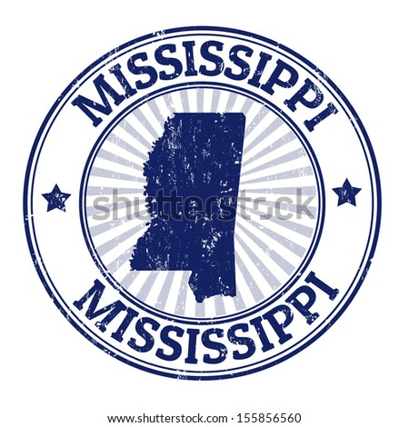 Grunge rubber stamp with the name and map of Mississippi, vector illustration