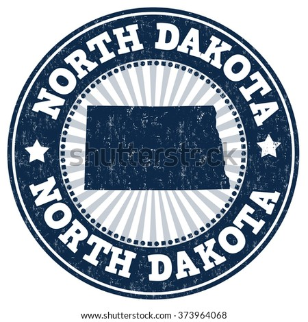 Grunge rubber stamp with the name and map of North Dakota, vector illustration