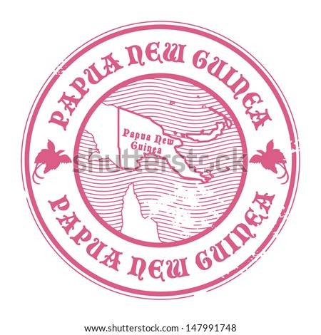 Grunge rubber stamp with the name and map of Papua New Guinea, vector illustration