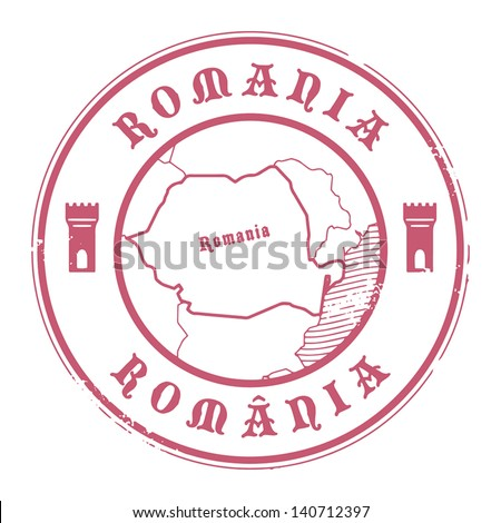 Grunge rubber stamp with the name and map of Romania, vector illustration