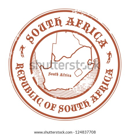 Grunge rubber stamp with the name and map of South Africa, vector illustration - stock vector