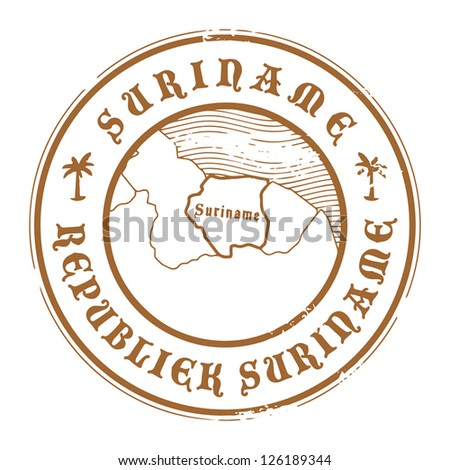 Grunge rubber stamp with the name and map of Suriname, vector illustration