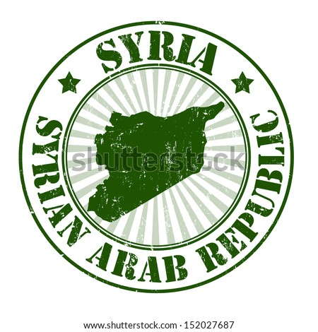 Grunge rubber stamp with the name and map of Syria, vector illustration
