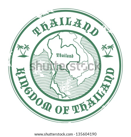 Grunge rubber stamp with the name and map of Thailand, vector illustration