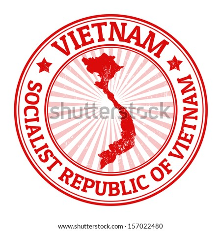 Grunge rubber stamp with the name and map of Vietnam, vector illustration - stock vector