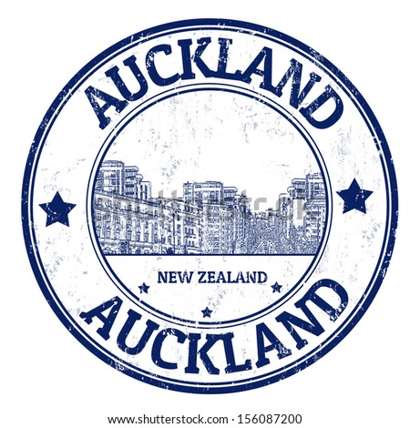 Grunge rubber stamp with the name of Auckland city from New Zealand written inside, vector illustration  - stock vector