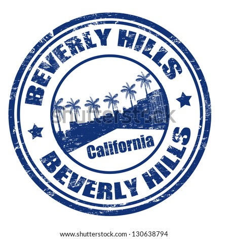 Grunge rubber stamp with the name of Beverly Hills city, California, vector illustration - stock vector