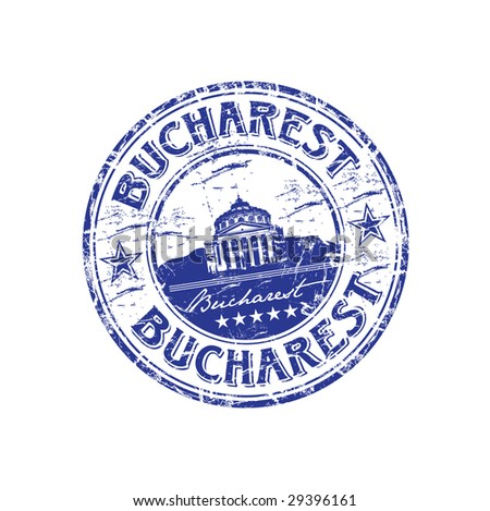 Grunge rubber stamp with the name of capital of Romania written inside the stamp, Bucharest - stock vector