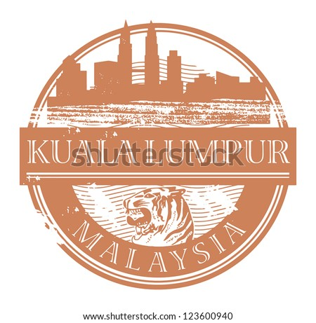 Grunge rubber stamp with the name of Kuala Lumpur, Malaysia written inside the stamp, vector illustration - stock vector