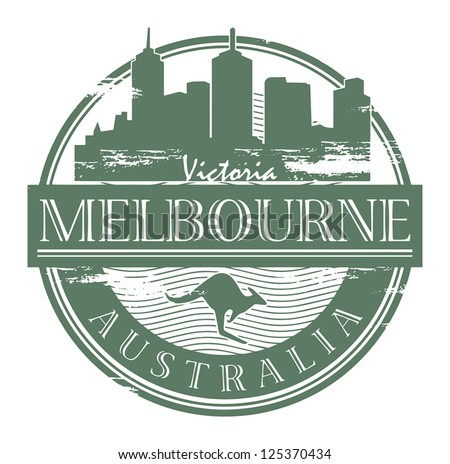 Grunge rubber stamp with the name of Melbourne, Australia written inside the stamp, vector illustration - stock vector