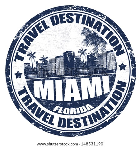 Grunge rubber stamp with the name of Miami city from southeastern Florida written inside, vector illustration - stock vector