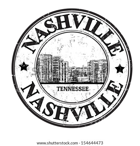 Grunge rubber stamp with the name of Nashville city from the state of Tennessee written inside