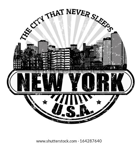 Grunge rubber stamp with the name of New York ( The city that never sleeps), written inside - stock vector