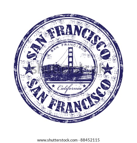 Grunge rubber stamp with the name of the city of San Francisco written inside the stamp - stock vector