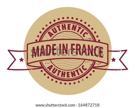 Grunge rubber stamp with the text Authentic, Made in France written inside the stamp, vector illustration - stock vector