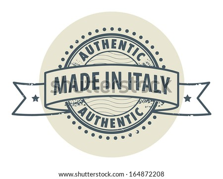 Grunge rubber stamp with the text Authentic, Made in Italy written inside the stamp, vector illustration - stock vector