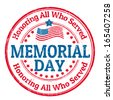 Grunge rubber stamp with the text Memorial day written inside, vector illustration - stock vector