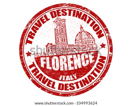 Grunge rubber stamp with the text travel destinations Florence inside, vector illustration
