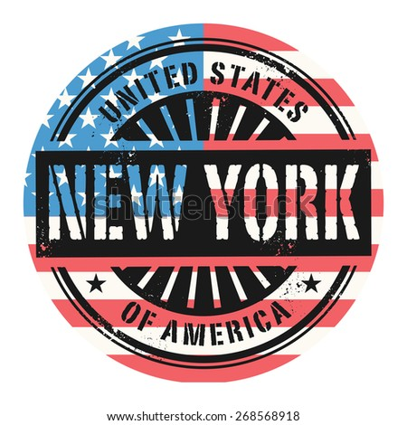 Grunge rubber stamp with the text United States of America, New York, vector illustration - stock vector