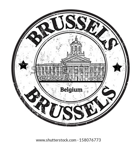 Grunge rubber stamp with the word Brussels, Belgium inside, vector illustration
